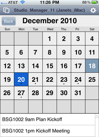 Screenshot of iPhone calendar