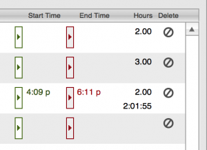 Timesheets timer detail showing time ended and edited