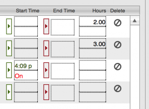 Timesheets timer detail showing timer running