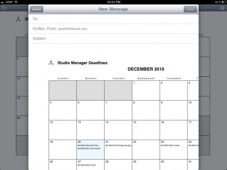 iPad Calendar Emailing a PDF