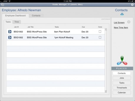 iPad Dashboard and Contacts